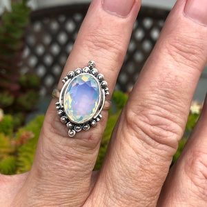Fire Opalite Faceted Sterling Silver Ring Sz 7